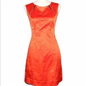 CALVIN KLEIN red sleeveless sheath dress full zip
